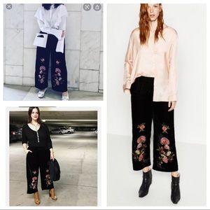 Zara embroidery black velvet culottes/ crop pants